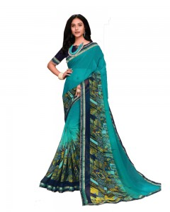 Comet Busters Blue Printed Georgette Saree With Border