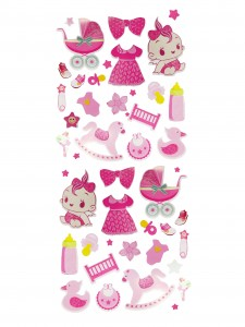 Comet Busters Cute Pink Baby Stickers (Peel and Stick)