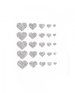 Comet Busters Glitter Heart Adhesive Nail Stickers (Silver)