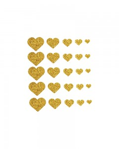 Comet Busters Glitter Heart Adhesive Nail Stickers (Golden)