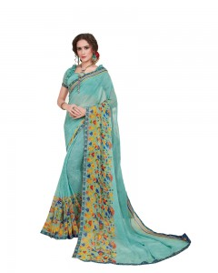 Comet Busters Printed Blue Georgette Sari With Border