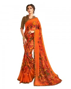 Comet Busters Orange Printed Saree With Blouse