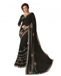 Comet Busters Beautiful Printed Black Saree