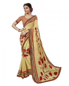 Comet Busters Yellow Printed Georgette Sari With Border