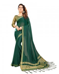 Comet Busters Self Design Dark Green Georgette Saree