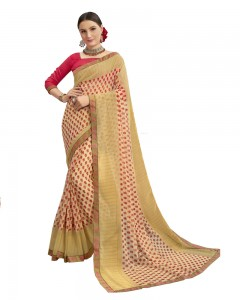 Comet Busters Georgette Peach Saree