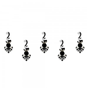Comet Busters Long Black Bindis With Silver Stone (BIN1169)