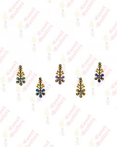 Comet Busters Fancy Black Bindis With Golden and Stones Work