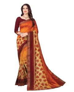Comet Busters Art Silk Orange Printed Saree With Border