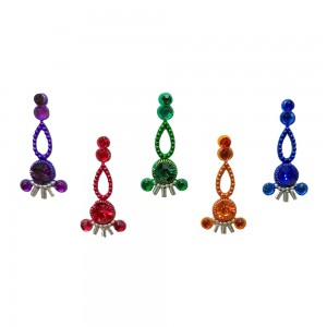 Comet Busters Multicolor Long Bindis With Stone Work (BIN1095)