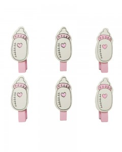 Comet Busters 6 Pieces Pink Baby Bottle Baby Shower Wooden Clips Photo Clips