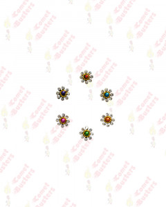 Comet Busters Colorful Bindi With Silver Stone Border