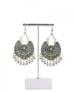 Comet Busters Stylish Silver Oxidised Finish Jhumkis