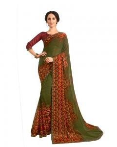 Comet Busters Olive Printed Saree With Blouse