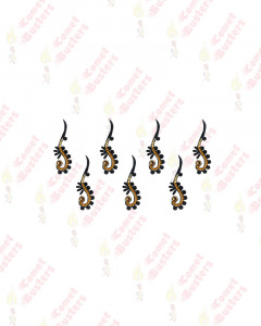 Comet Busters Black Long Bindi With Gold Beads