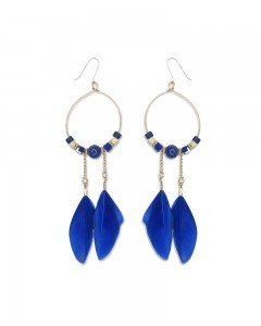 Comet Busters Blue Feathers Latest Stylish Long Tassel Earrings for Women & Girls