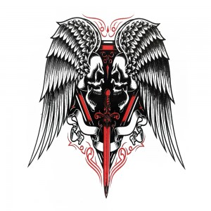 Comet Busters Red and Black Temporary Water Tattoo (BJ133)