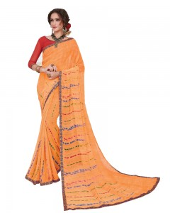 Comet Busters Printed Orange Georgette Sari With Border