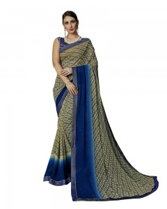 Comet Busters Printed Georgette Collection Blue Saree