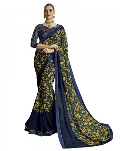 Comet Busters Printed Georgette Collection Navy Blue Saree
