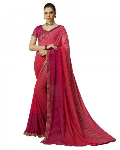 Comet Busters Printed Georgette Collection Red Shaded Saree