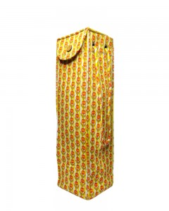 Comet Busters Handicraft - Yellow Printed Cotton Water Bottle Bag Carry Cover with Handles