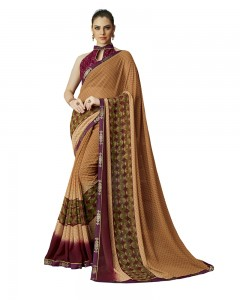 Comet Busters Printed Georgette Collection Light Brown Saree