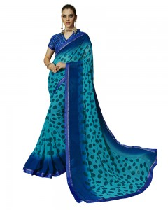 Comet Busters Printed Georgette Collection Beautiful Blue Saree