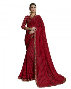 Comet Busters Printed Georgette Collection Beautiful Red Saree