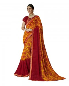Comet Busters Printed Georgette Collection Red and Orange Saree
