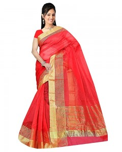 Comet Busters Red Festive Wear Super Net Solid Saree With Unstitched Blouse