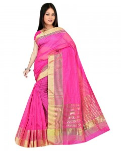 Comet Busters Pink Festive Wear Super Net Solid Saree With Unstitched Blouse