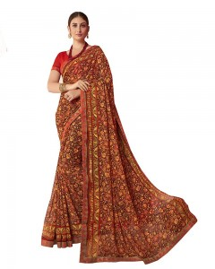 Comet Busters Beautiful Printed Orange  Saree