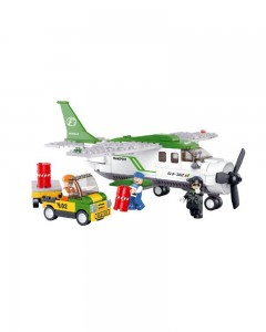 Sluban Mini Transport Plane Goods Delivery Aircraft Aviation Building Blocks, Multi Colour