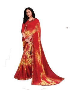 Comet Busters Red Printed Georgette Saree With Border