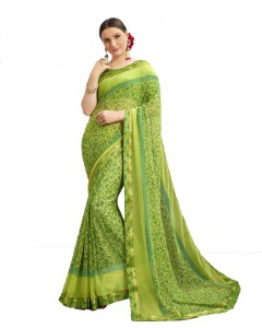 Comet Busters Georgette Printed Light Green Saree