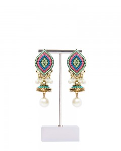 Comet Busters Stylish Blue Jhumkis With Pearl Drop
