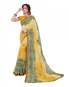 Comet Busters Printed Yellow Georgette Sari With Border