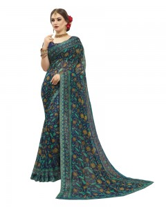Comet Busters Printed Blue Georgette Sari With Zari Border