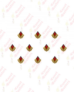 Comet Busters Red Diamond Shaped Bindis With Gold Beads
