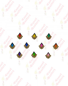 Comet Busters Beautiful Multicolor Bindis WIth Gold Beads