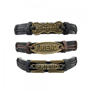 Comet Busters Leather Casual Bracelets Friendship Bands For Boys and Men (Set of 3)