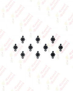 Comet Busters Black Bindis With Silver Stones