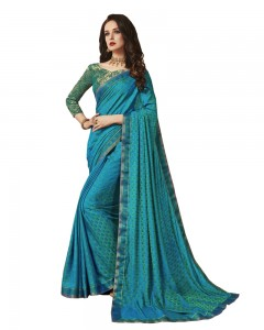 Comet Busters Art Silk Self Design Saree with Weaving Border