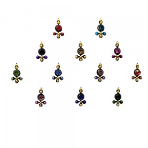 Comet Busters Black Bindis With Colored Stones (BIN1122)