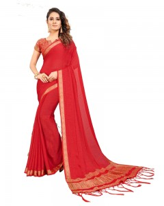 Comet Busters Self Design Red Georgette Saree
