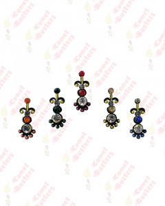 Comet Busters Fancy Black Bindis With Silver and Colored Stones