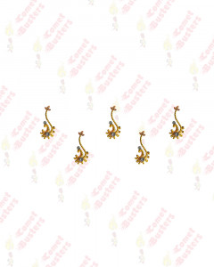 Comet Busters Golden Bindis With Silver Stones