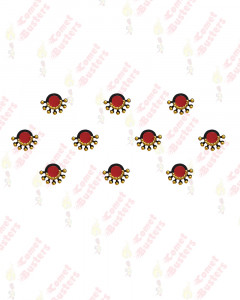 Comet Busters Beautiful Maroon Bindis With Gold Beads
