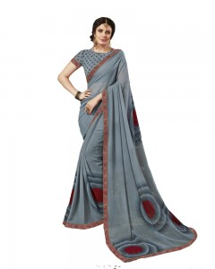 Comet Busters Grey Printed Georgette Sari With Border